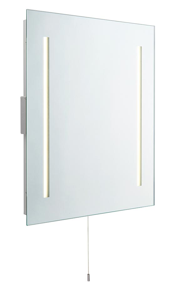 Glimpse LED bathroom mirror with shaver socket and pull switch IP44
