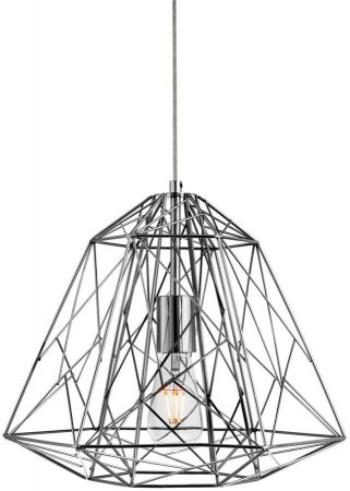 Contemporary Geometric Chrome Cage Industrial Pendant Light