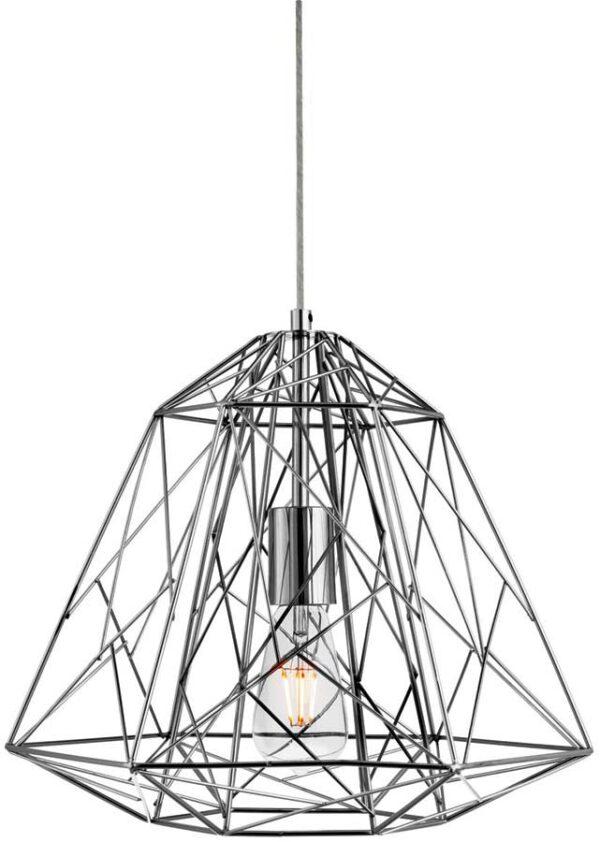 Contemporary Geometric Chrome Cage Industrial Pendant Light