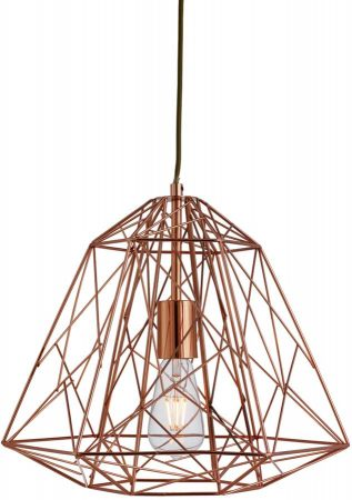 Contemporary Geometric Copper Cage Industrial Pendant Light