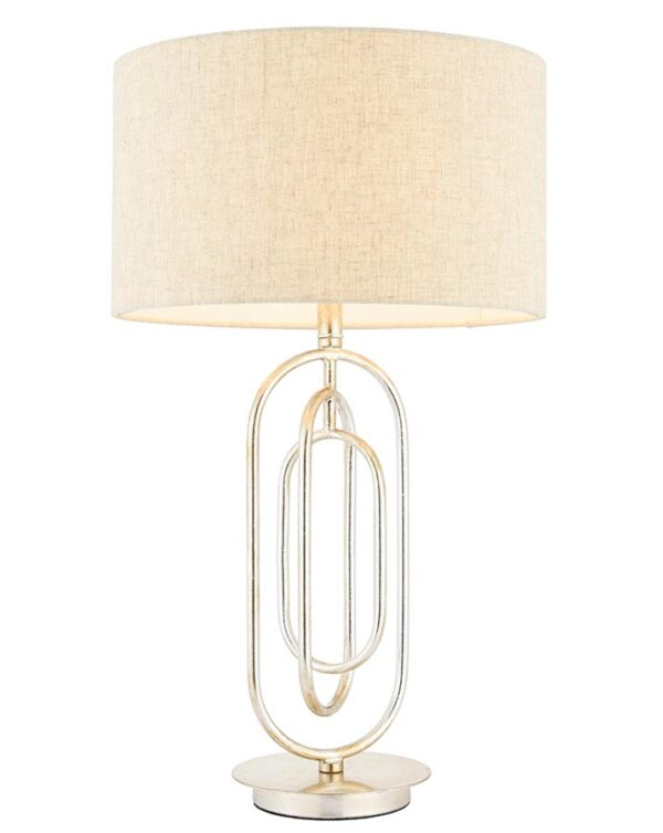 Meera 1 Light Table Lamp Silver Leaf Natural Linen Shade