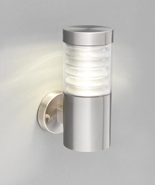 Equinox LED outdoor wall light in 316 stainless steel IP44 lit