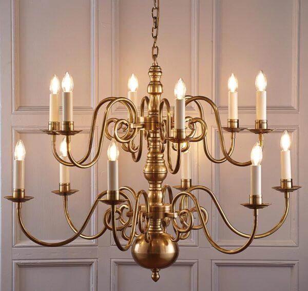 Chamberlain Solid Brass 12 Light Flemish Style Large Chandelier