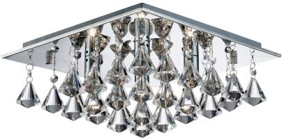 Hanna Square Chrome 4 Light Flush Diamond Crystal Light