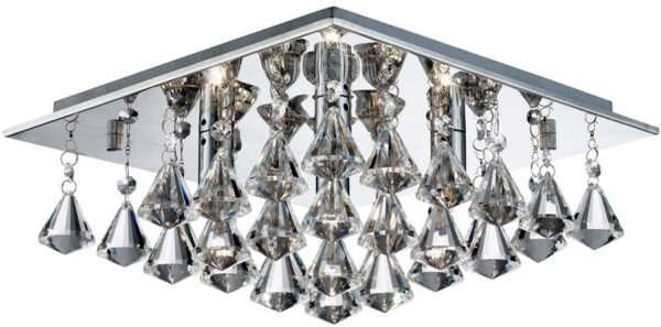 Hanna Square Chrome 4 Light Flush Diamond Crystal Light