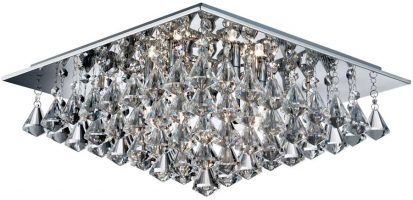 Hanna Square Chrome 6 Light Flush Diamond Crystal Light
