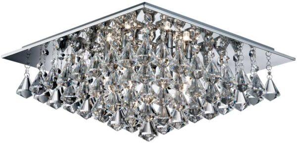 Hanna Square Chrome 6 Light Flush Diamond Crystal Light