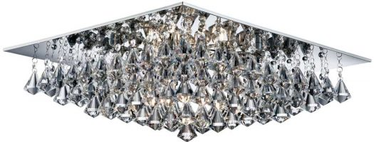 Hanna Square Chrome 8 Light Flush Diamond Crystal Light