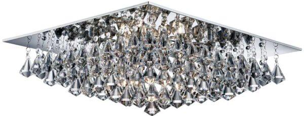 Hanna Square Chrome 8 Light Flush Diamond Crystal Light