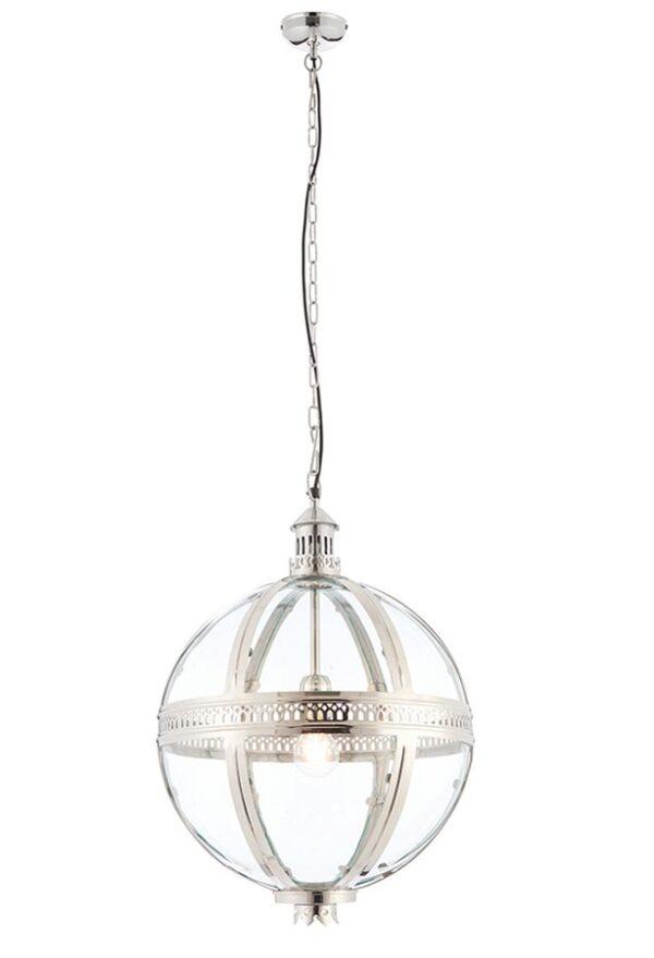 Vienna 1 Light 410mm Globe Pendant Nickel Plated Solid Brass