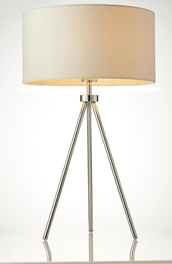 Tri 1 Light Tripod Table Lamp Polished Chrome Ivory Shade