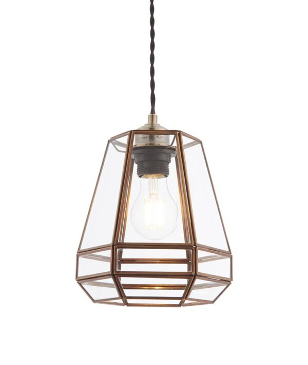 Stockheld Glass Ceiling Pendant Lamp Shade Solid Antique Brass