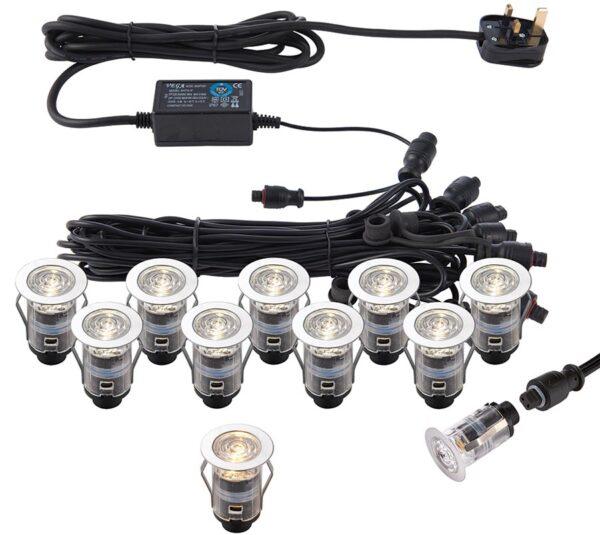 IkonPro stainless steel 10 light 25mm CCT 3000k / 4000k LED deck light kit IP67
