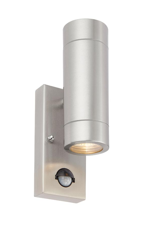 Atlantis outdoor up & down PIR wall light in 316 stainless steel lit