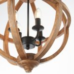Toba 4 Light Mango Wood Globe Pendant Ceiling Light Brown
