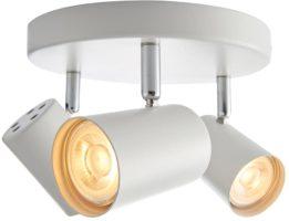 Arezzo Matt White 3 Light LED Round Ceiling Spot Light Plate