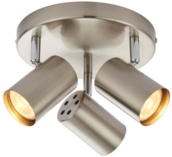 Arezzo Satin Chrome 3 Light LED Round Ceiling Spot Light Plate