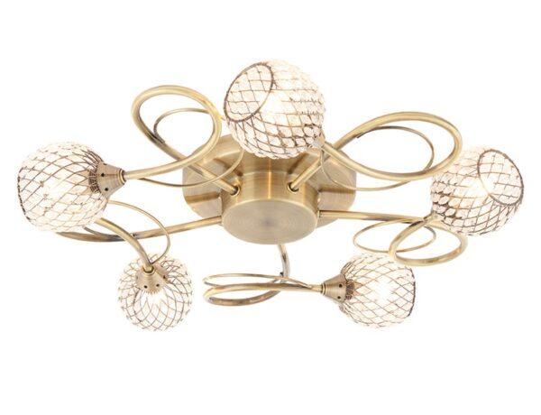 Aherne Antique Brass 5 Light Semi Flush Ceiling Light