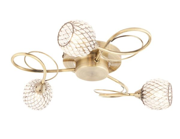 Aherne Antique Brass 3 Light Semi Flush Ceiling Light