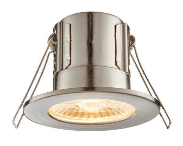 ShieldECO Dimmable 4w Warm White LED Fire Rated IP65 Downlight Satin Nickel