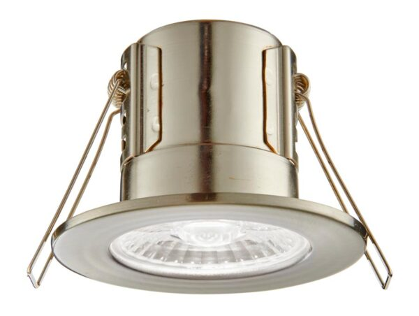 ShieldECO Dimmable 4w Cool White LED Fire Rated IP65 Downlight Satin Nickel