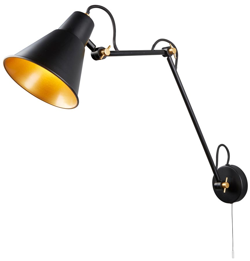 Gold Ball Wall Lights : Matt Black Switched 1 Light Adjustable Swing Arm Wall Light Gold Inner