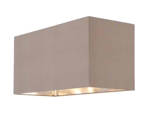 Cassier Large Taupe Silk Rectangular Box Shade Silver Lined