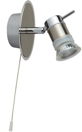 Aries Chrome Switched Bathroom Wall Spotlight