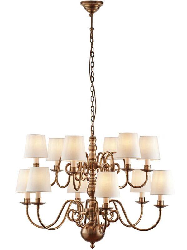 Chamberlain Solid Brass 12 Light Large Flemish Chandelier Silk Shades