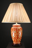 Ceramic Table Lamps   Oriental Table Lamps Made From Ceramic:Ceramic Red Oxide Oriental Table Lamp with Pleated Lampshade,Lighting