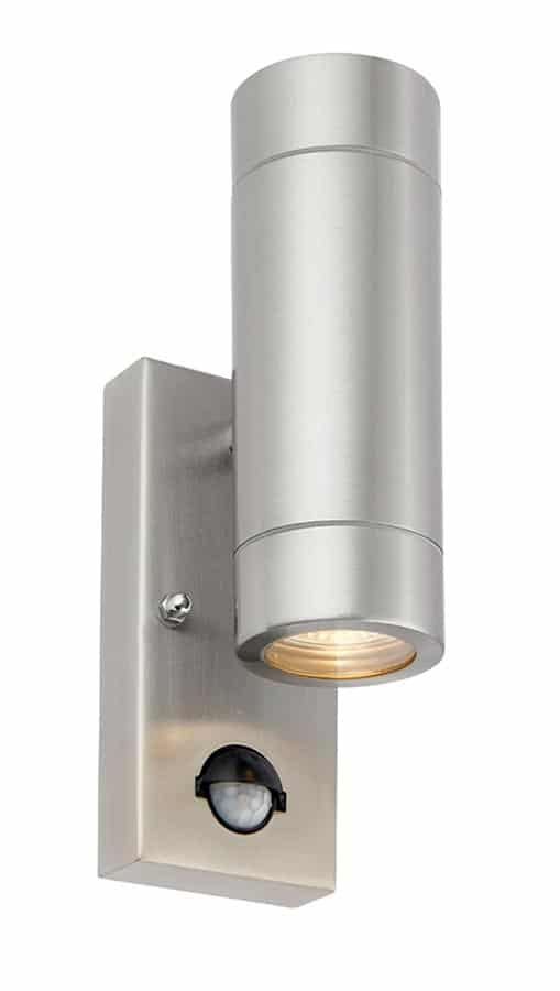 Palin stainless steel outdoor PIR wall up & down light with override