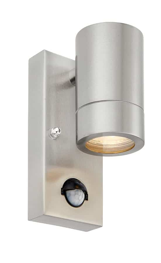 Palin stainless steel outdoor PIR wall down light with override