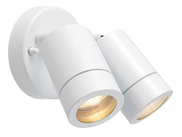 Palin Stainless Steel Adjustable Outdoor Wall Twin Spot Light White