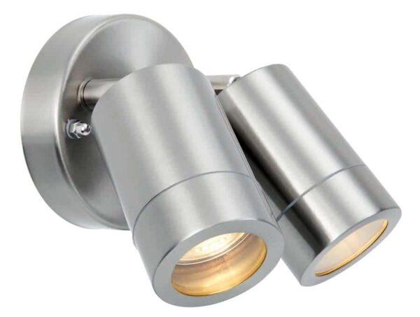 Palin Stainless Steel Adjustable Outdoor Wall Twin Spot Light IP44
