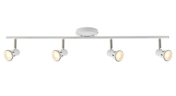 Krius Gloss White Finish 4 Light Ceiling Mounted Spotlight Bar