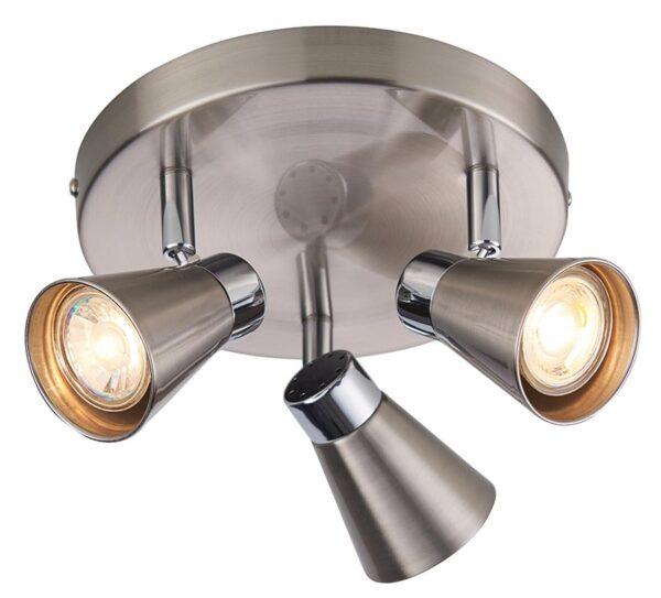 Kai 3 Light Round Ceiling Spotlight Plate Satin Nickel / Chrome