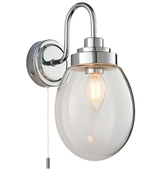 Hampton 1 Lamp Switched Bathroom Wall Light Chrome Glass IP44