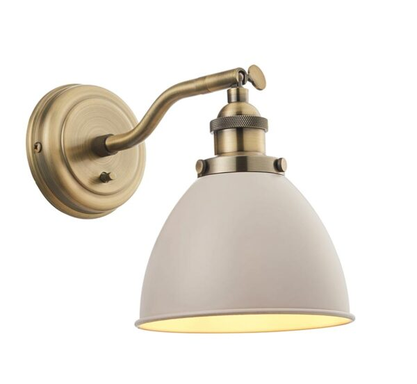 Franklin Switched 1 Light Resto Wall Light Taupe Antique Brass