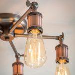 Endon Hal Industrial 5 Light Semi Flush Ceiling Light Pewter / Copper