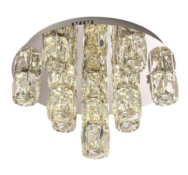 Prisma Crystal 15 Light LED Flush Mount Ceiling Light Chrome
