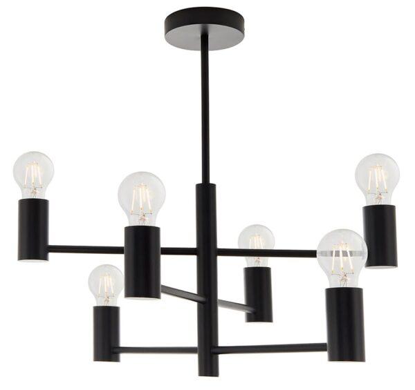 Studio 6 Light Industrial Style Semi Flush Ceiling Light Matt Black