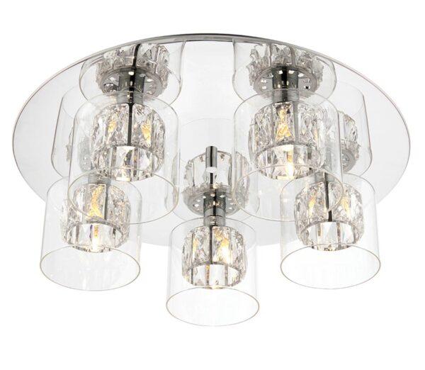 Verina Crystal 5 Light Flush Mount Ceiling Light Polished Chrome