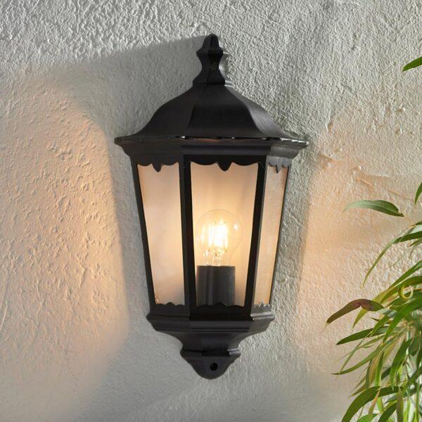 Burford Traditional Outdoor Wall Coach Lantern Matt Black IP44