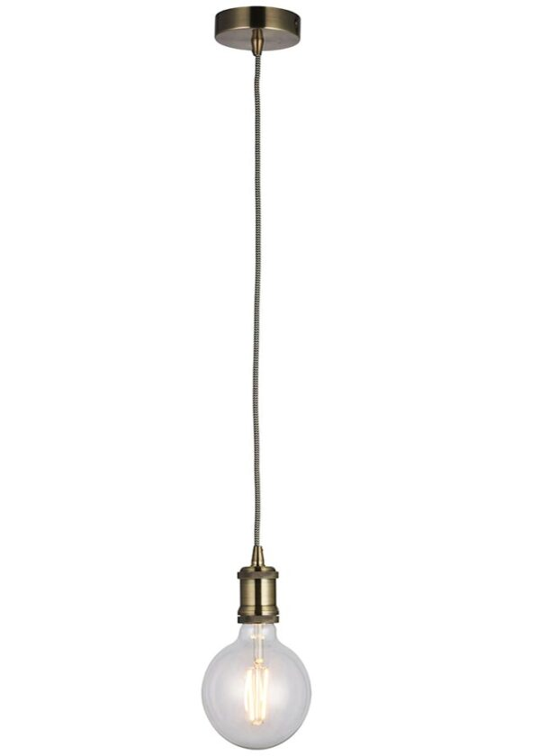 Cambourne 1 Light Industrial Style Pendant Cable Set Brass