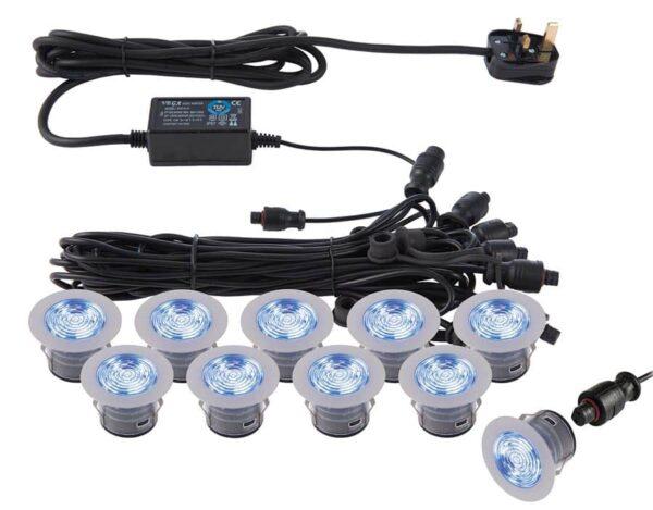 IkonPro stainless 10 light 45mm CCT LED deck lighting kit blue shown