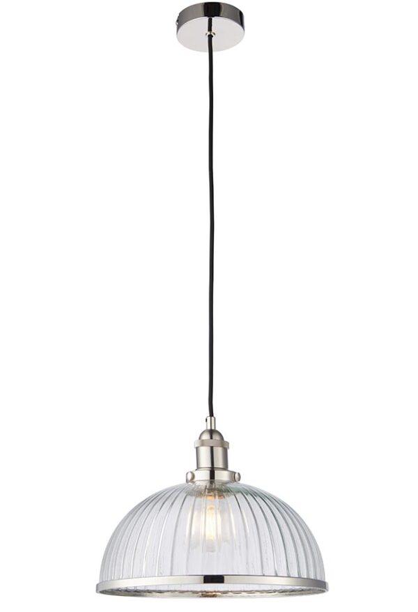 Hansen 1 Light Ribbed Glass Resto Ceiling Pendant Polished Nickel