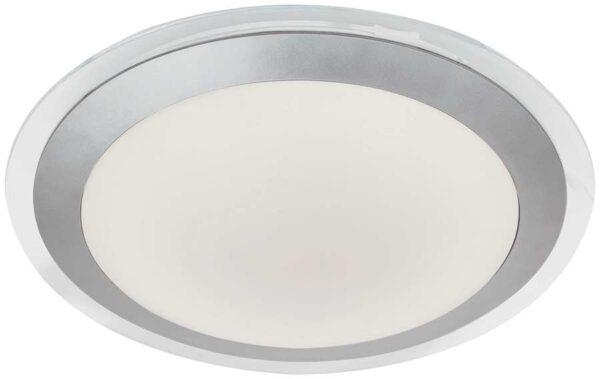 Modern Silver LED Bathroom Flush Ceiling Light White Shade