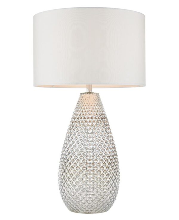Livia 1 Light Dimpled Mercury Glass Table Lamp White Shade