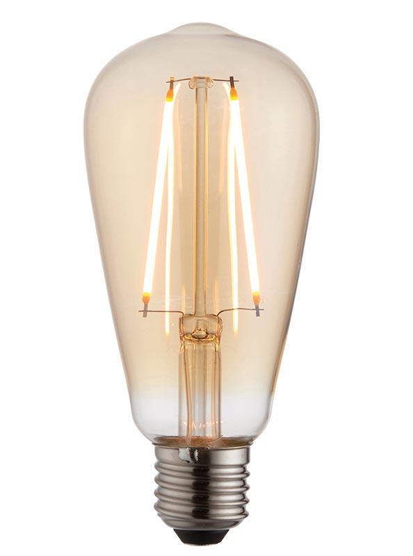 Amber Glass 2w LED Filament E27 Pear Light Bulb 190 Lm