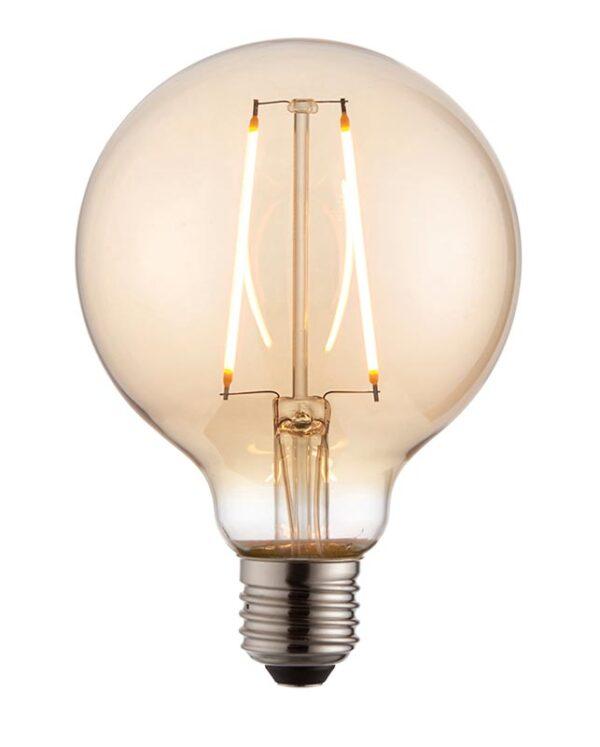 Amber Glass 95mm Globe 2w LED Filament E27 Light Bulb 190 Lm